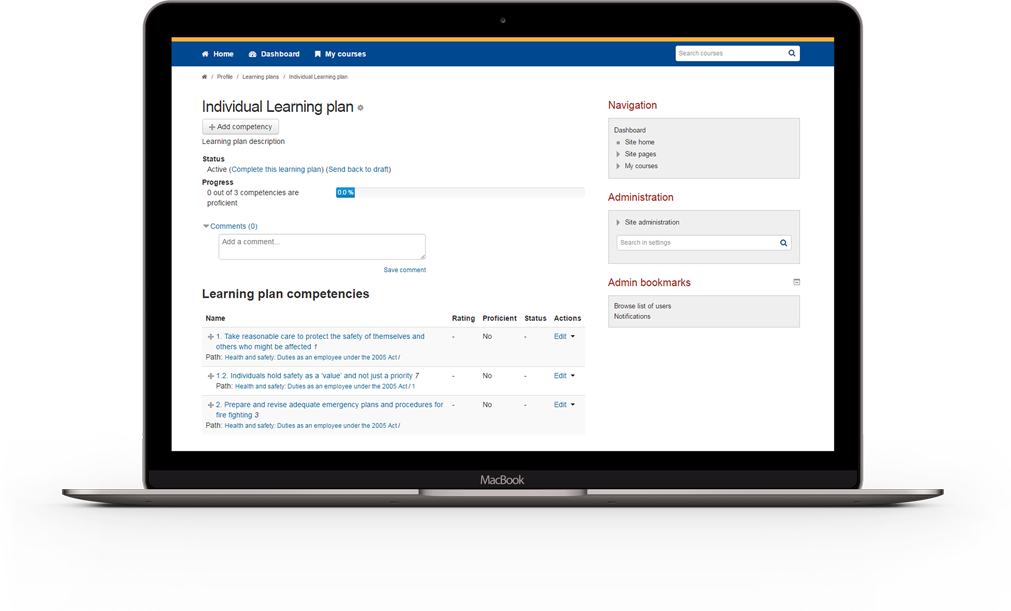 Moodle Competency Learning Plan