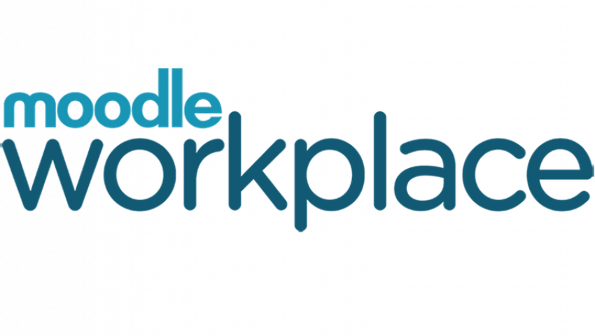"alt=""Moodle workplace logo with blue font"""